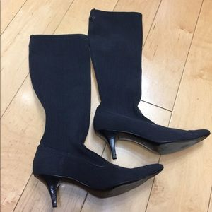 Cole Haan denim-like stiletto heel sock boots— 7.5